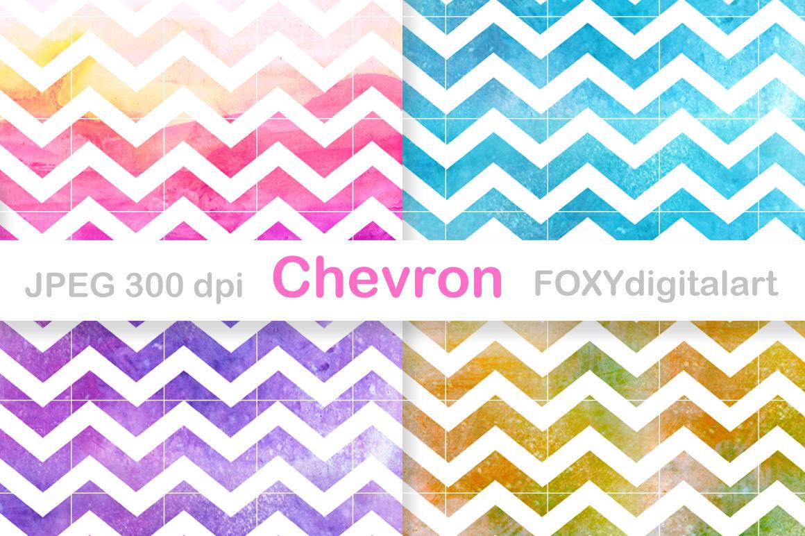 Watercolor Chevron Digital Paper Scrapbook By Foxydigitalart Thehungryjpeg Com