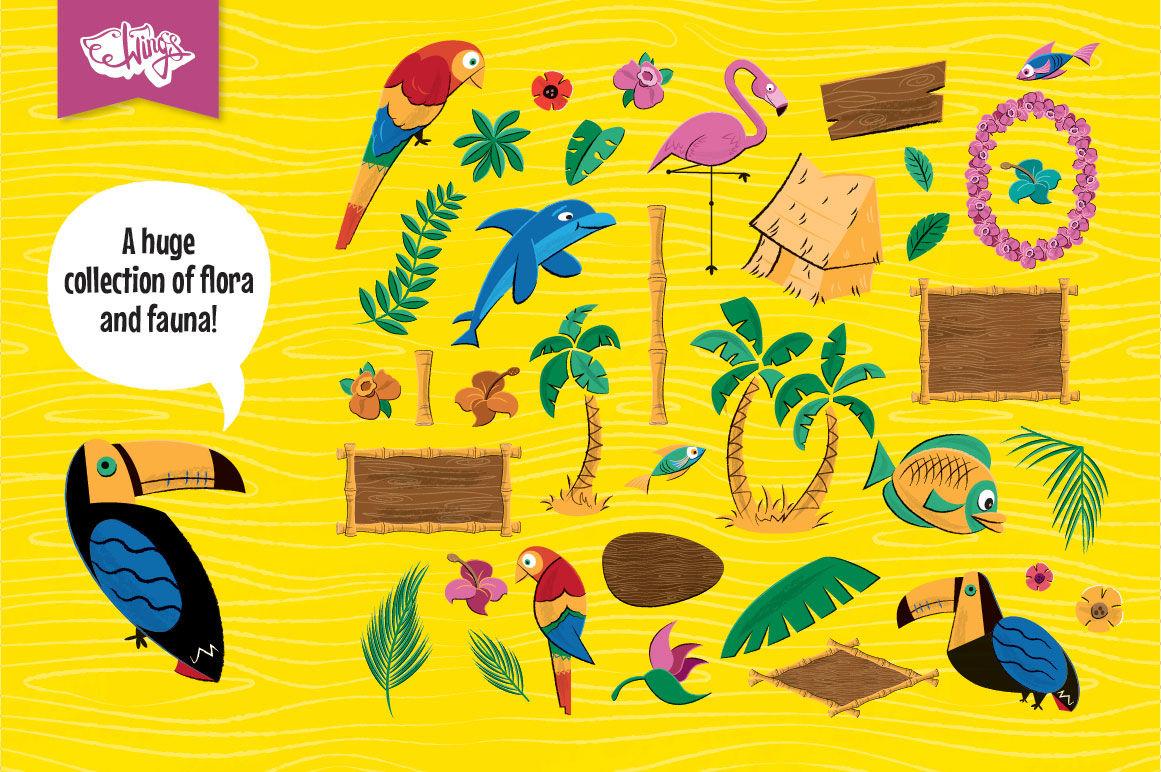 Tiki Logos and Badge Maker Kit By wingsart   TheHungryJPEG com