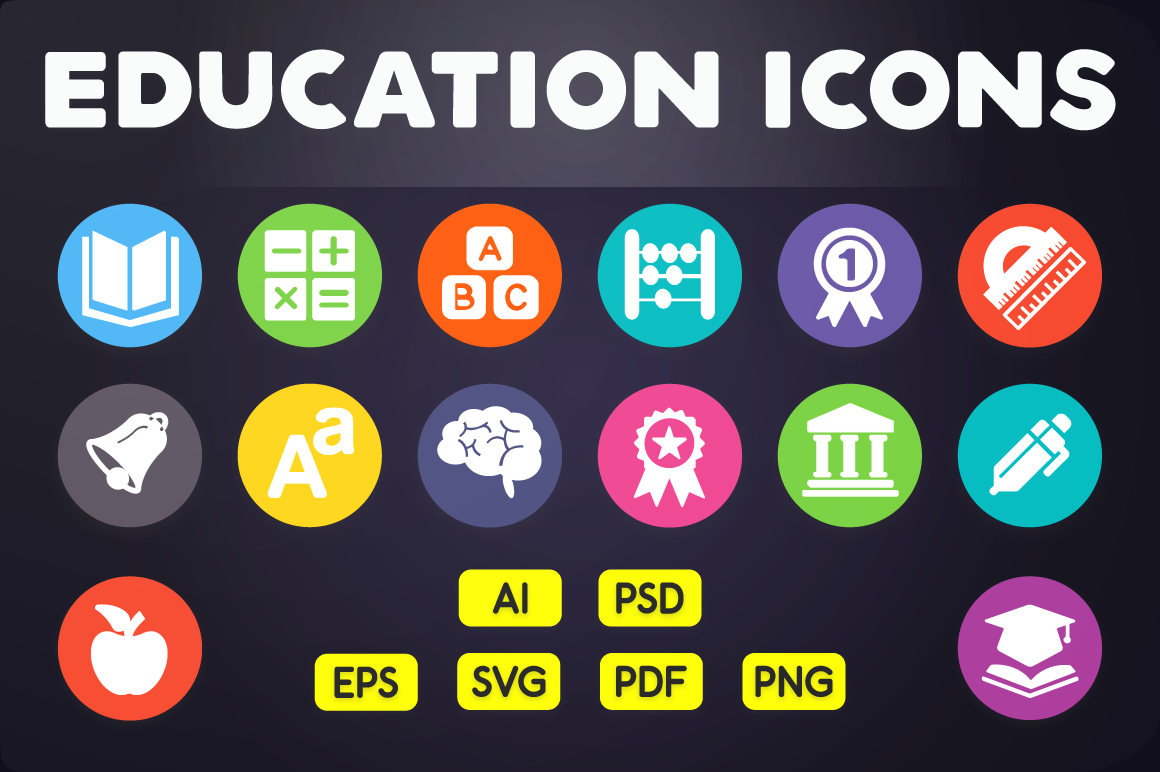 Flat Icon Education Icons Vol 1 By Chamicon Thehungryjpeg Com