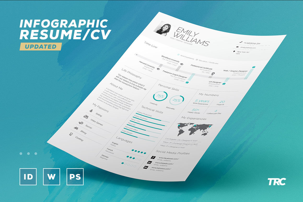 Infographic Resume Cv Volume 8 Indesign Word Template