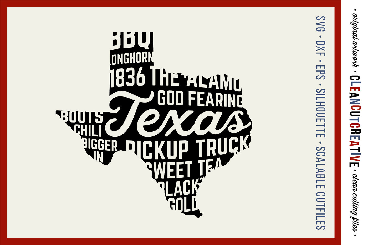 Texas State Design Svg Dxf Eps Png Cricut Silhouette Clean