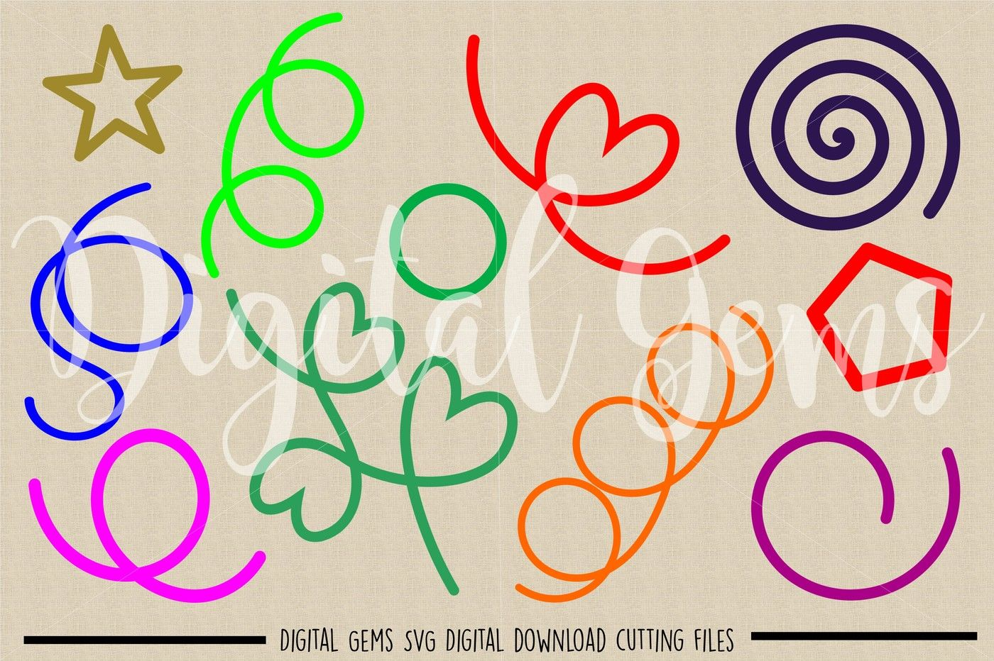 Shapes Svg Dxf Eps Png Files By Digital Gems Thehungryjpeg Com
