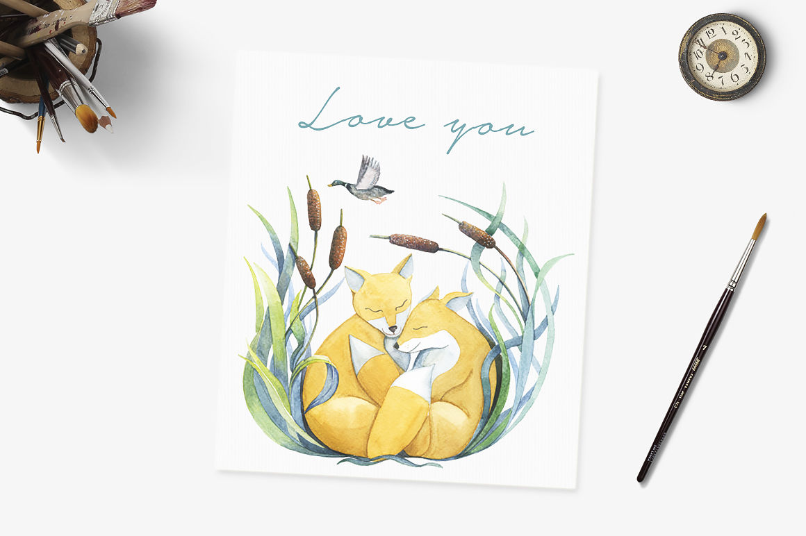 Watercolor Loving Animals Set By Spasibenko Art Thehungryjpeg Com