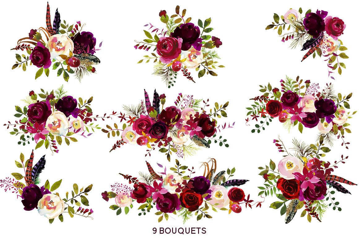 Boho Bordo Burgundy Red White Flowers Clipart. By ...