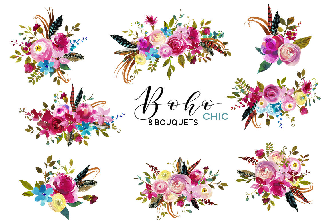 Boho Chic Pink Watercolor Flowers Clipart. By ...