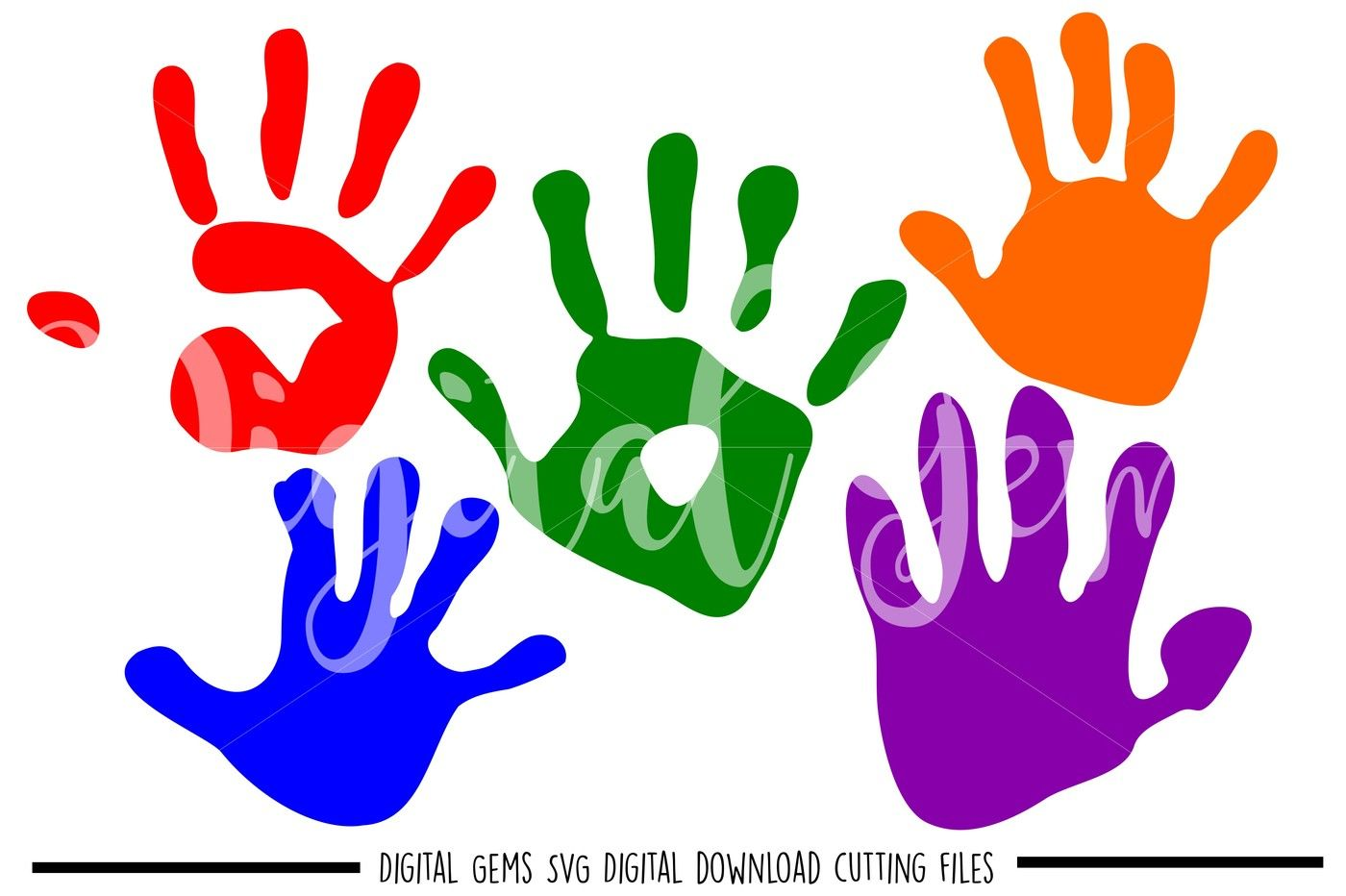 Hand Print Svg Dxf Eps Png Files By Digital Gems