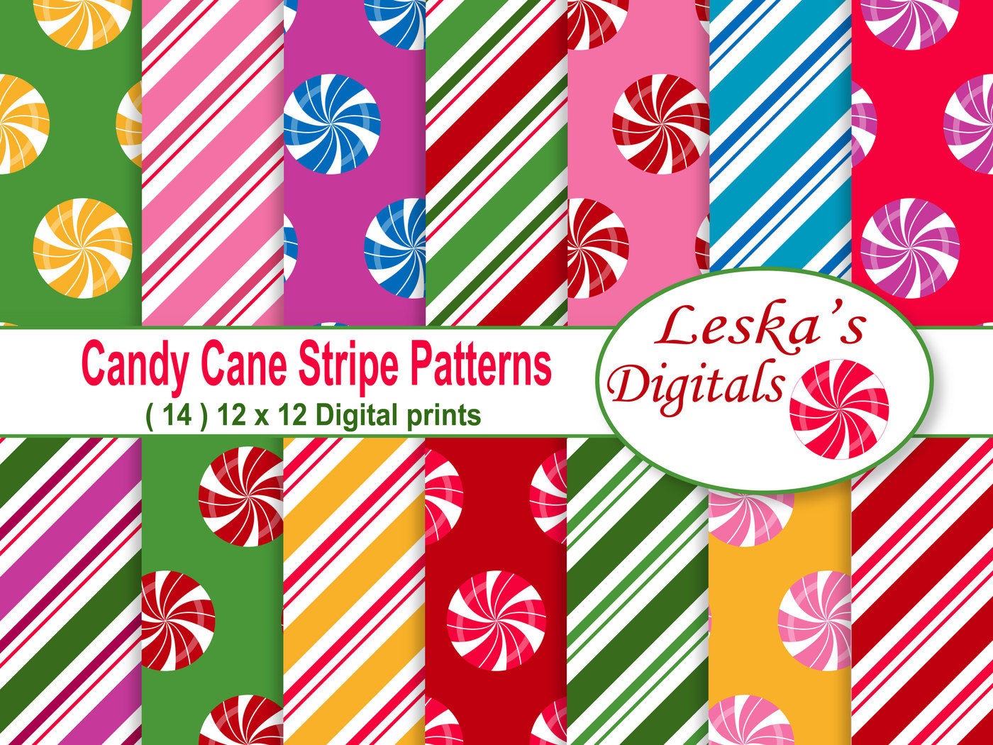 Christmas Digital Paper Candy Cane By Leska S Digitals