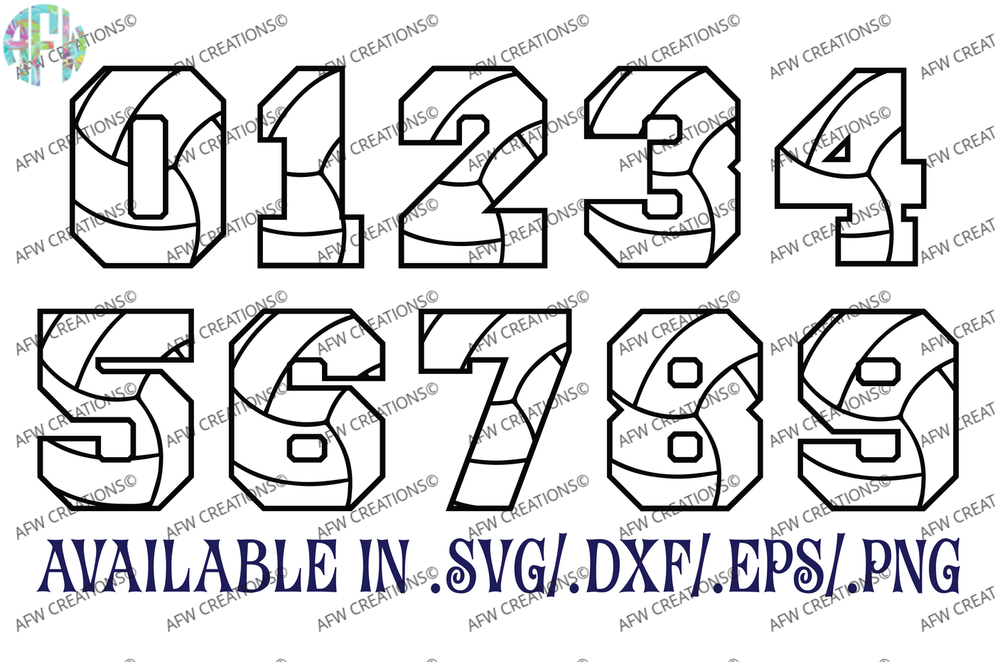 Volleyball Numbers Svg Dxf Eps Digital Cut Files By Afw Designs Thehungryjpeg Com