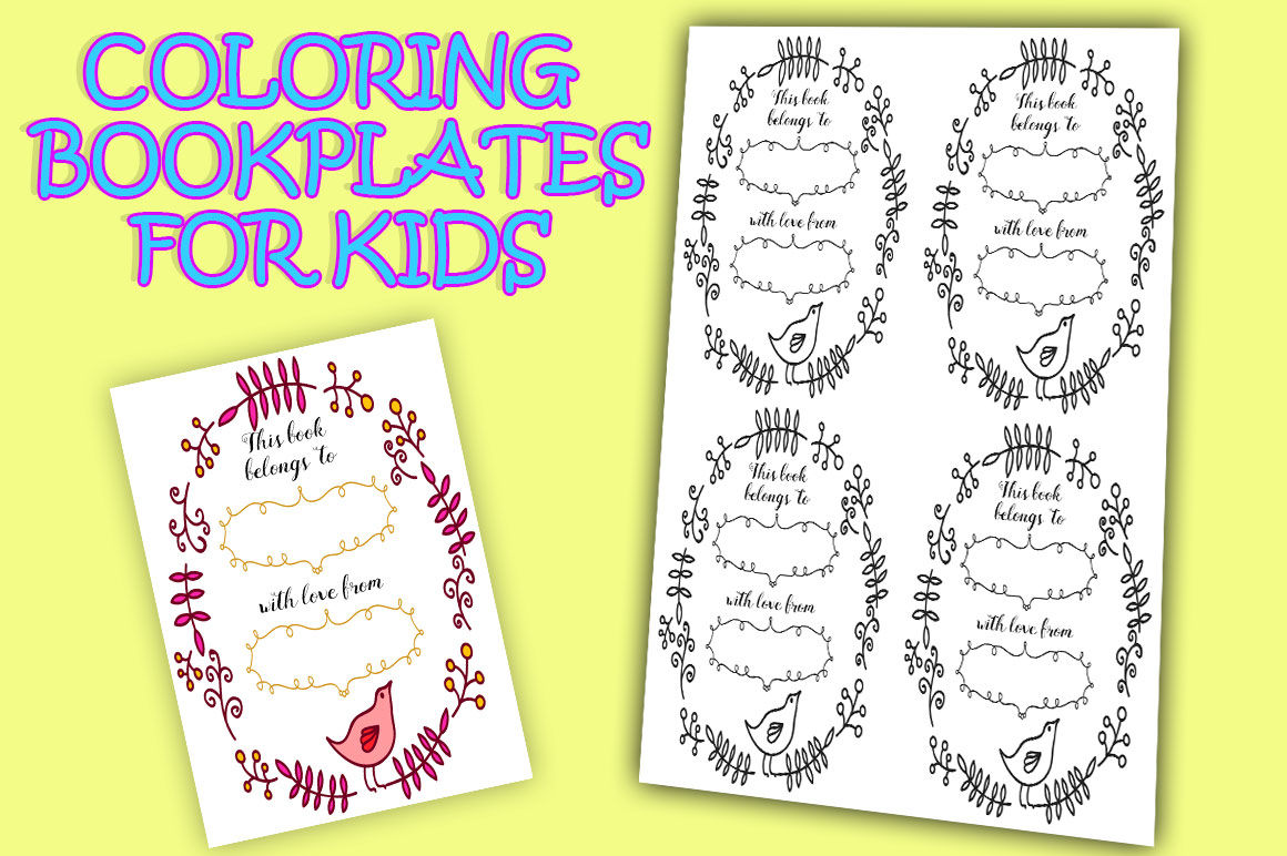 Printable Bookplates For Coloring By Alefairyland Thehungryjpeg Com