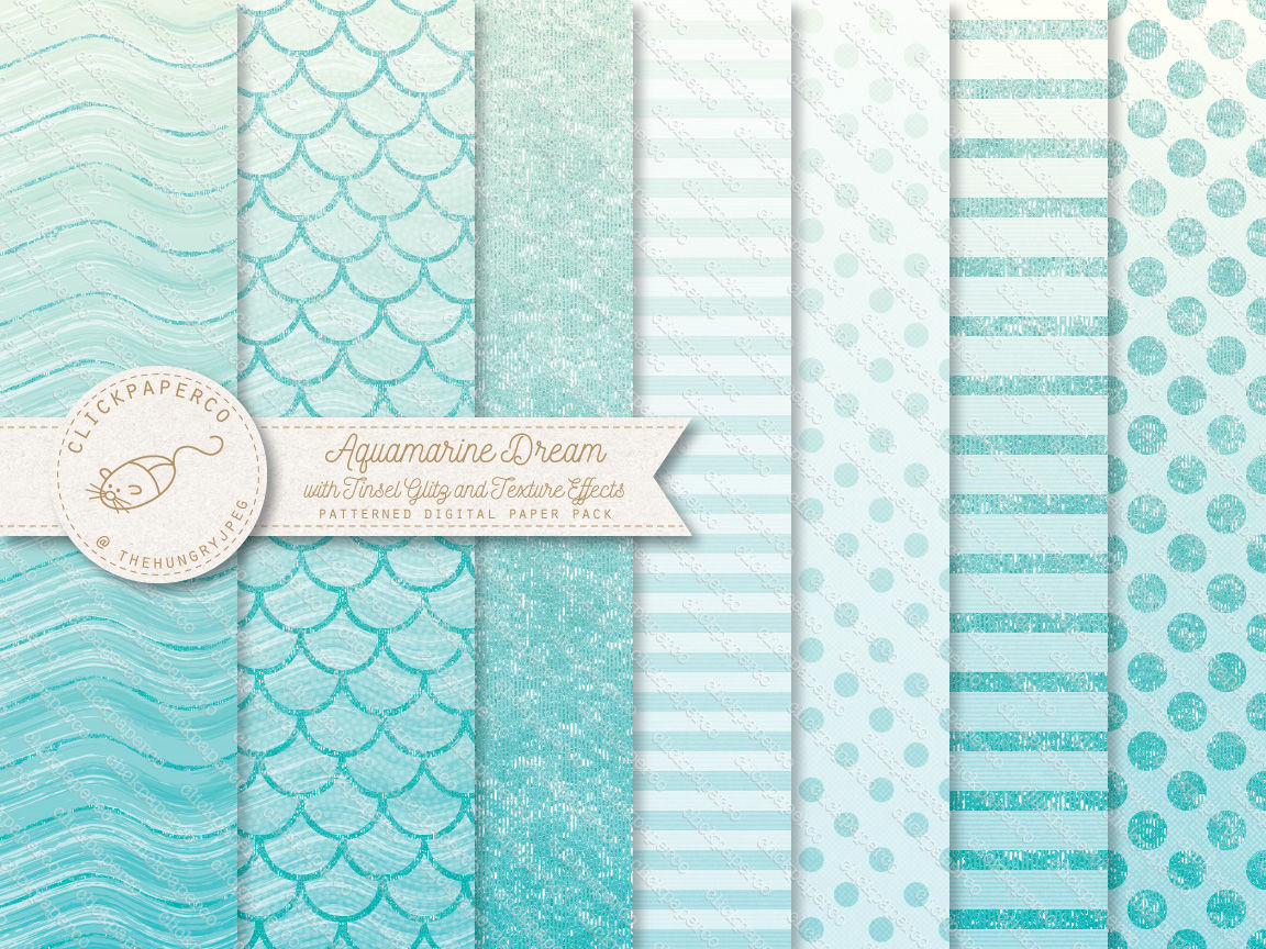 Aquamarine and Blush Pink Ombre Dream Digital Paper with