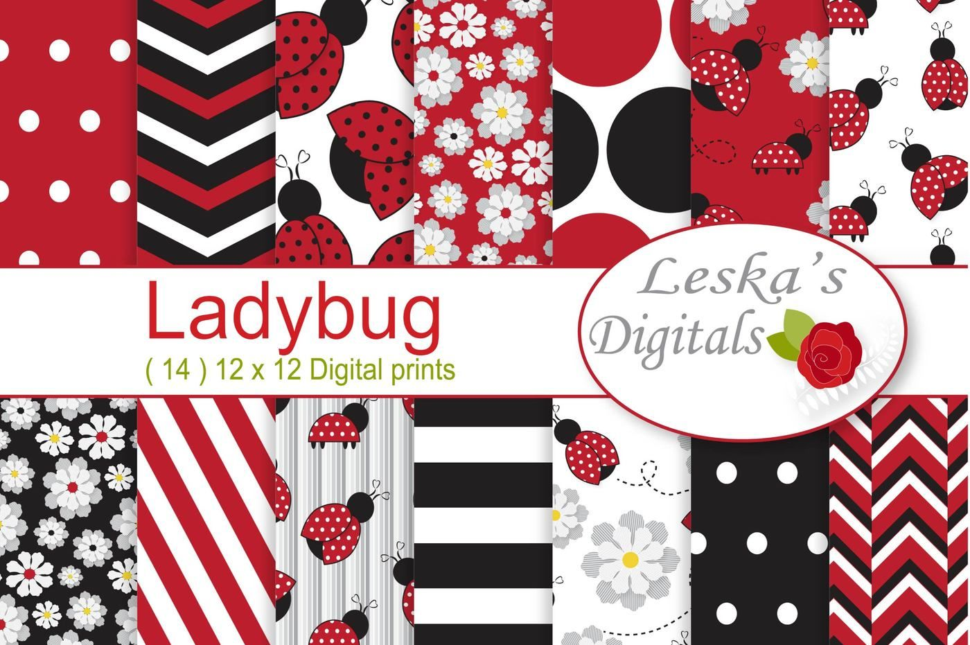ladybug digital paper packleska's digitals
