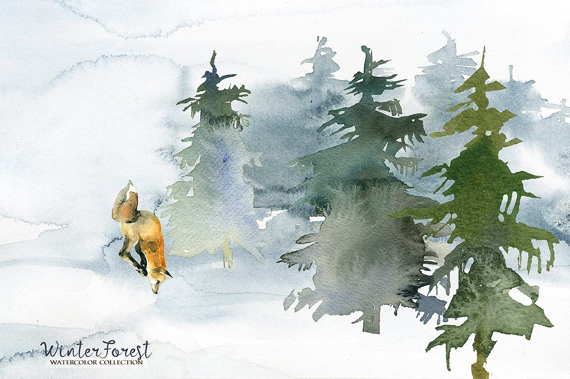 winter forest watercolor clipart pine trees animals backgrounds by whiteheartdesign thehungryjpeg com winter forest watercolor clipart pine