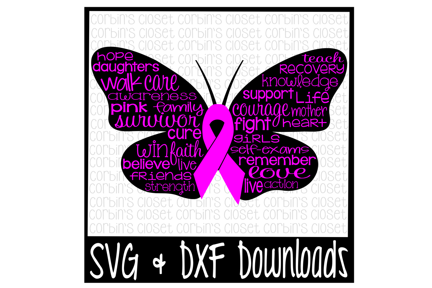 Cancer Awareness Svg Breast Cancer Butterfly Cut File By Corbins