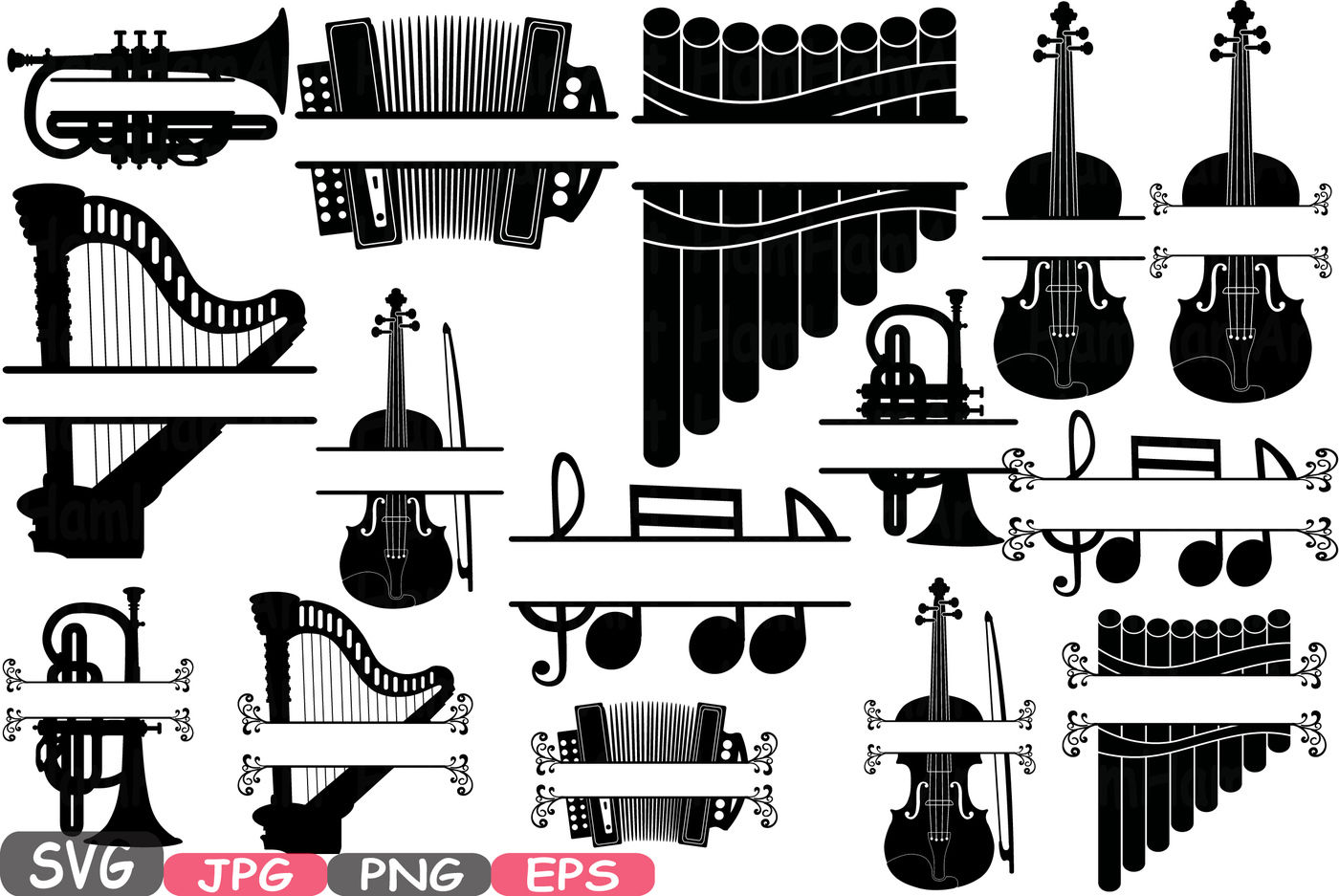 Music Instruments Split Circle Frame Silhouette Svg Music Note Printable Clipart Panpipe Accordion Violin Trumpet Harp Graphic Design 613s By Hamhamart Thehungryjpeg Com