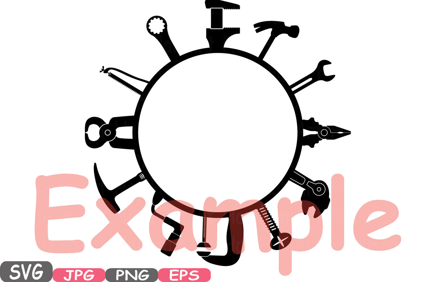 Split Circle Mechanic Tools Silhouette Svg Cutting Files Freame