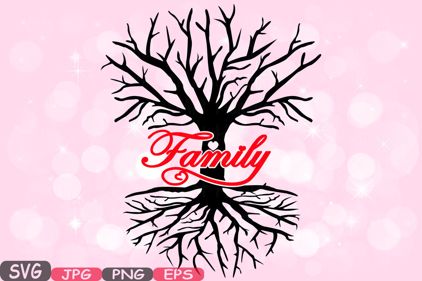 Family Tree Love Svg Word Art Family Quote Clip Art Silhouette