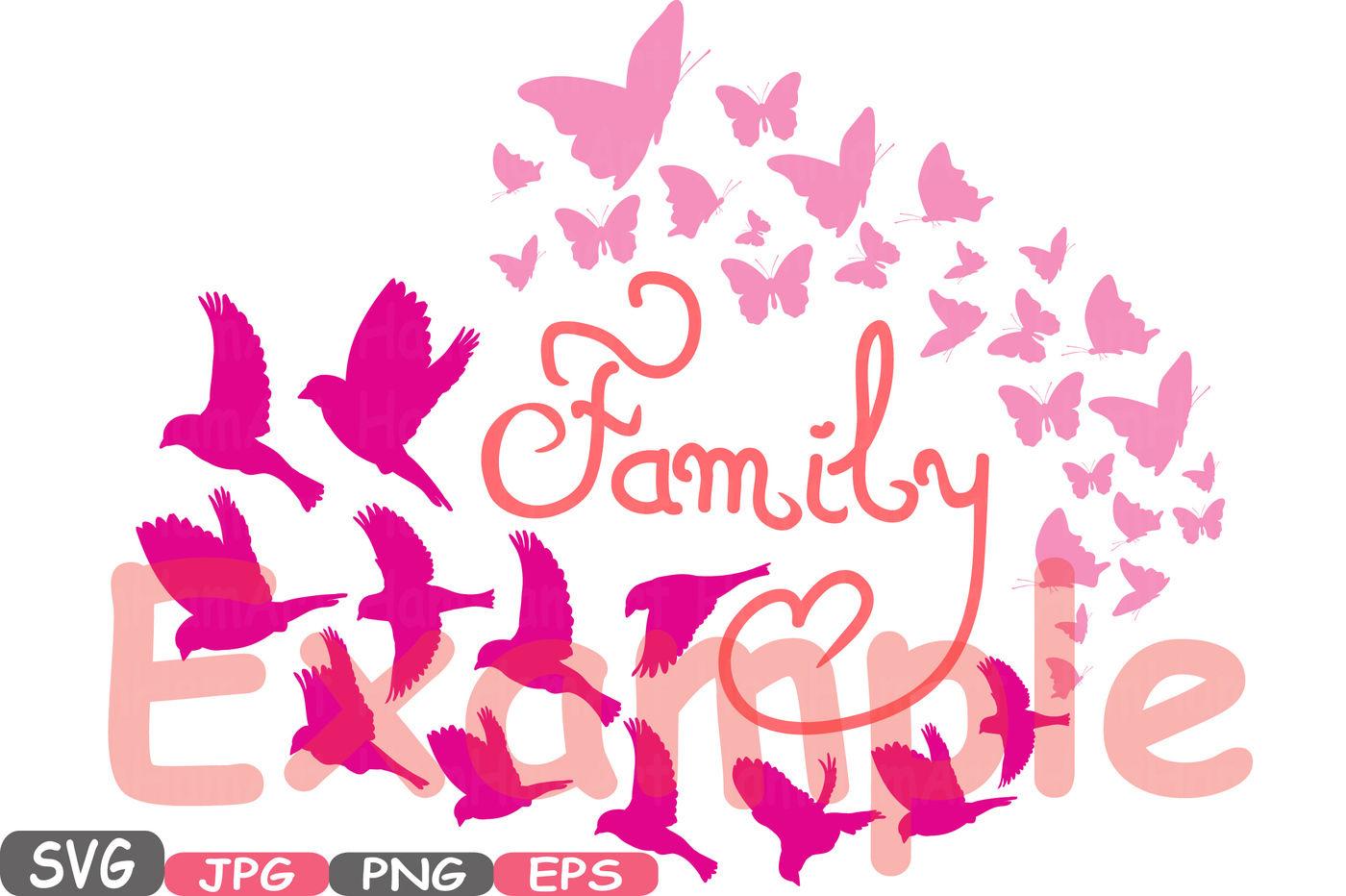 Family Birds Butterflies Butterfly Silhouette Digital Clipart