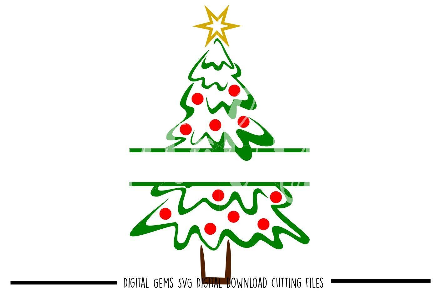 Split Christmas Tree Svg Dxf Eps Png Files By Digital Gems Thehungryjpeg Com