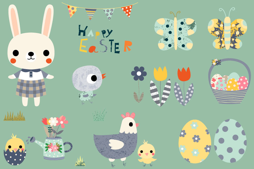 Cute Easter clipart set, Happy Easter design elements ...