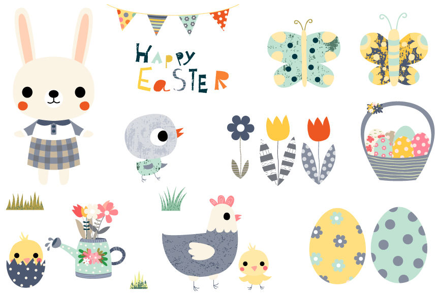 Spring easter. Cute clipart set happy