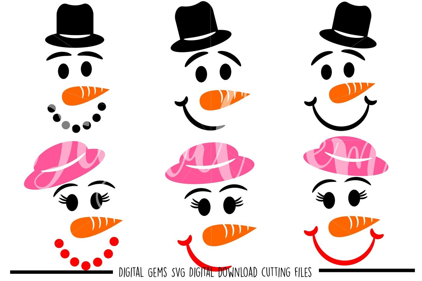 Snowman Faces Svg Dxf Eps Png Files By Digital Gems