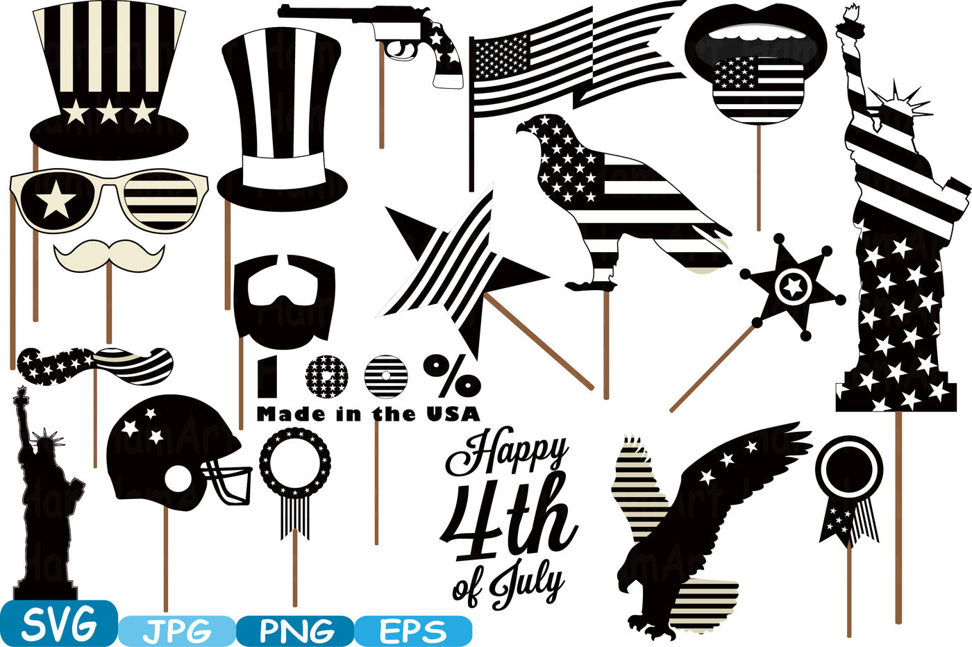 4th Of July Party Photo Booth Prop Silhouette Cameo Cutting Files