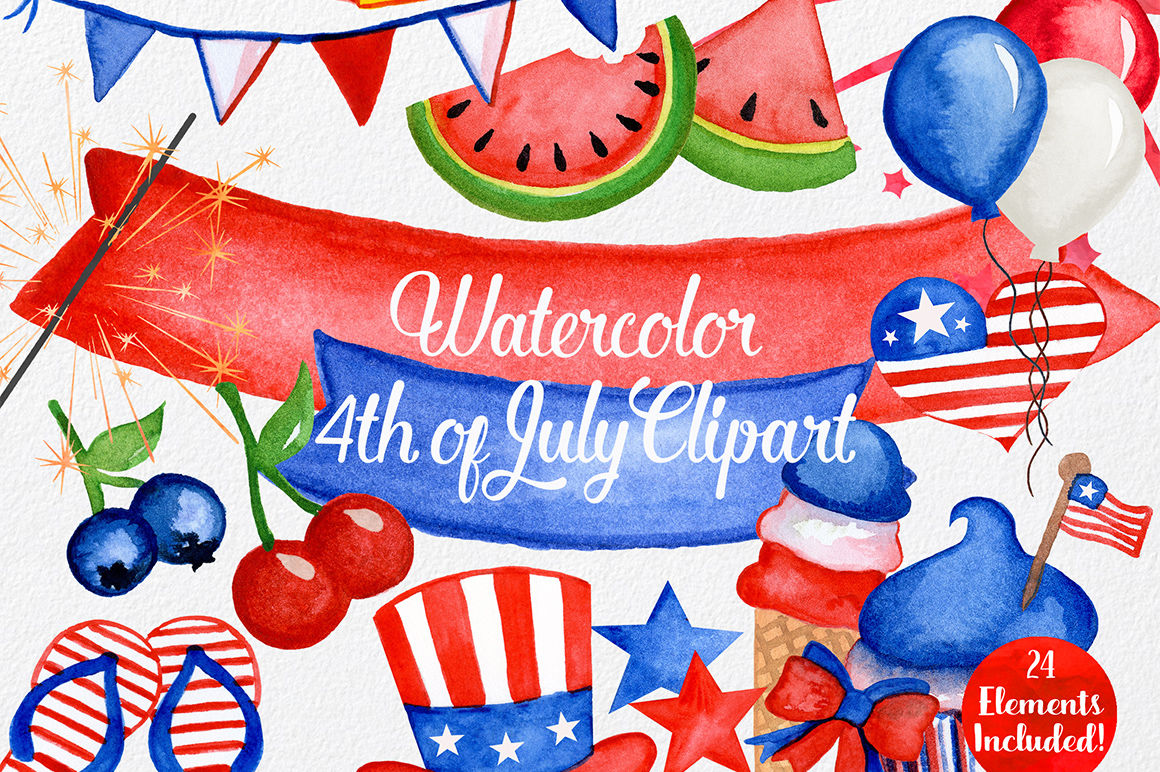 Watercolor Fourth Of July Graphics By Clipartbrat Thehungryjpeg Com