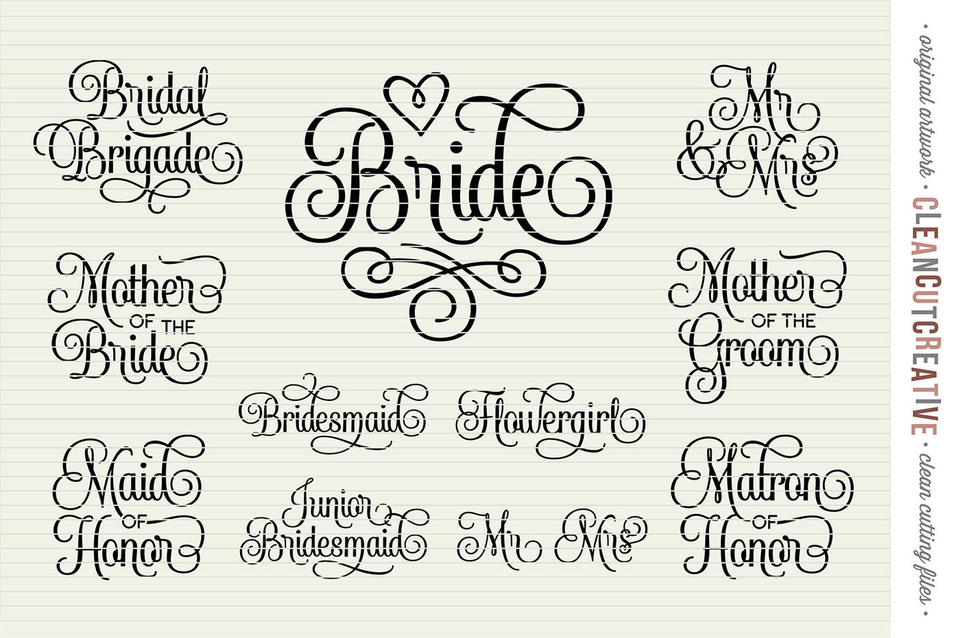 Bridal Party Wedding Party Set Of 11 Svg Dxf Eps Png Cricut Silhouette Clean Cutting Files By Cleancutcreative Thehungryjpeg Com