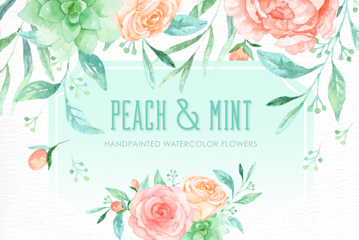 Peach And Mint Watercolor Clipart By Everysunsun Thehungryjpeg Com
