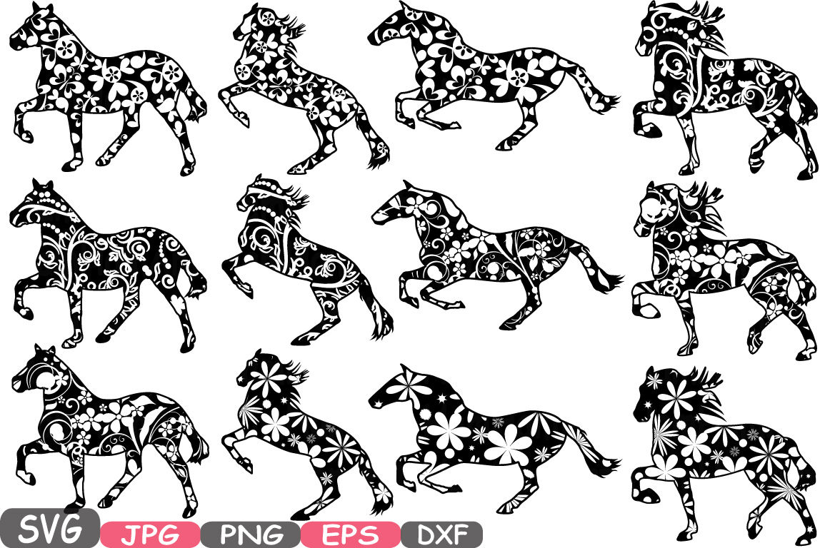Floral Horses Mascot Woodland Flower Monogram Circle Cutting Files