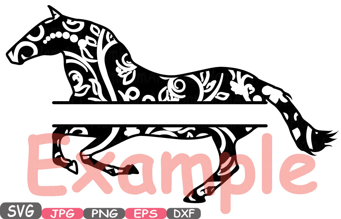 Wild Split Horses Mascot Woodland Flower Monogram Cutting Files