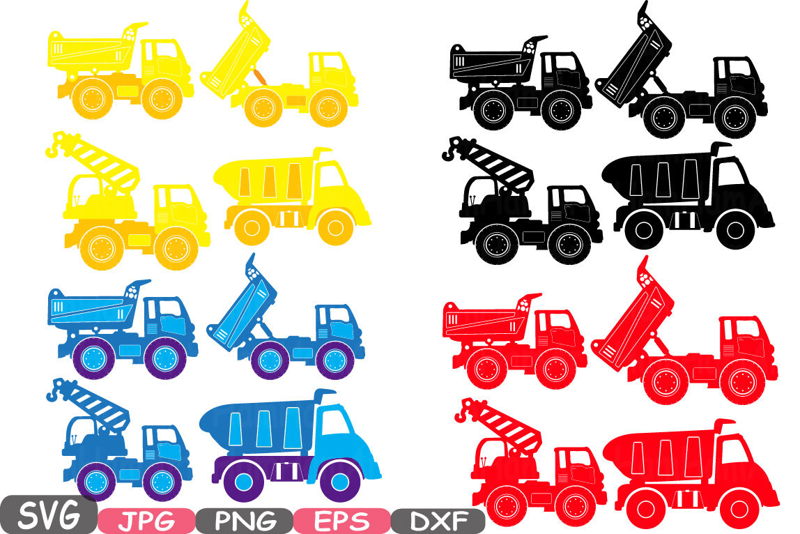 Construction Machines Silhouette Svg File Cutting Files Dump Trucks Toy Toys Cars Excavator Stickers Builders Work School Clipart Dxf 642s By Hamhamart Thehungryjpeg Com