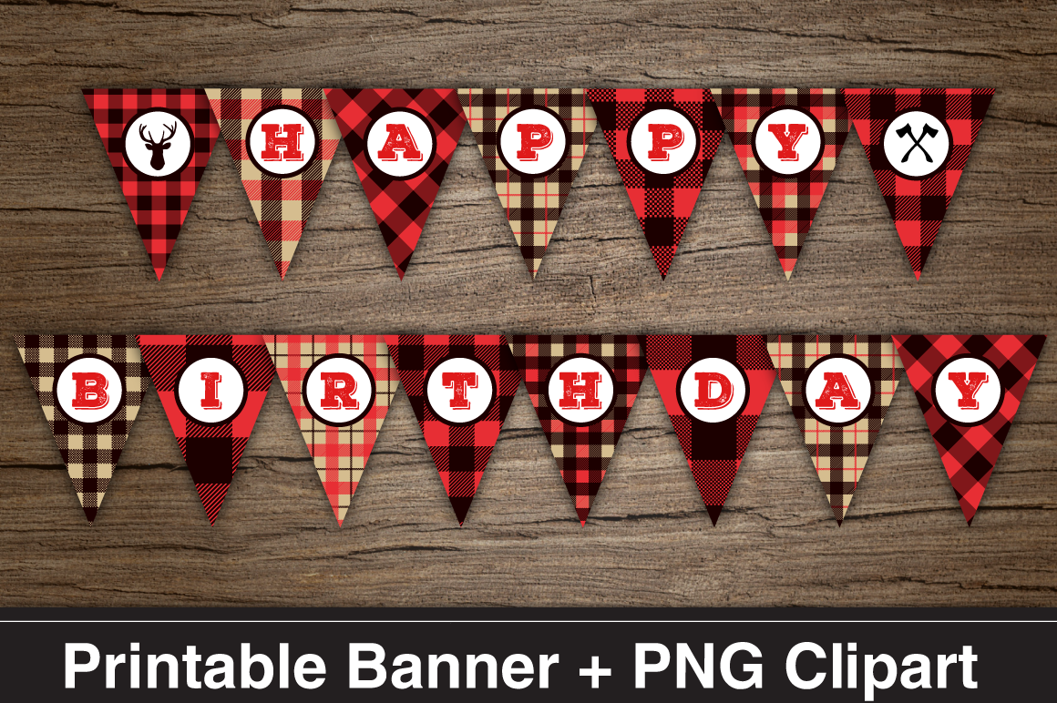 Lumberjack HAPPY BIRTHDAY Printable Banner & PNG Clipart ...