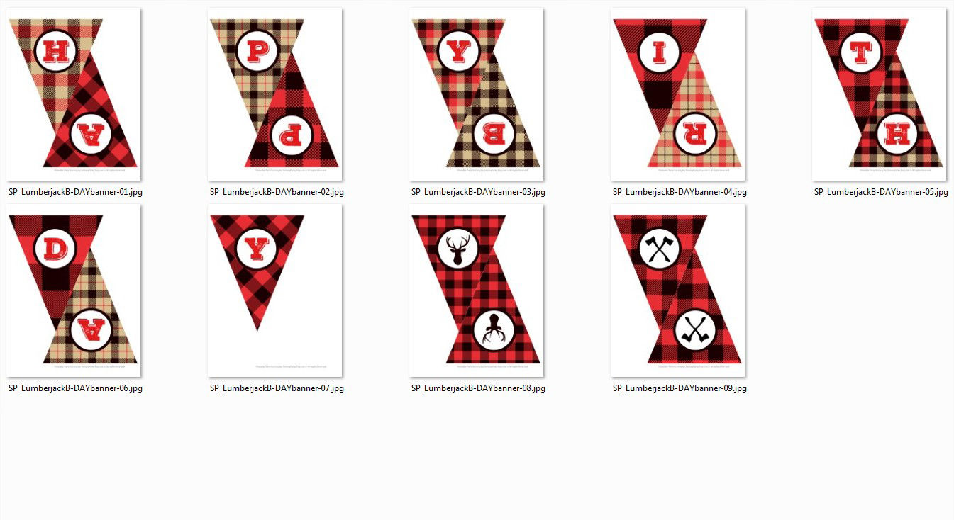 Lumberjack Happy Birthday Printable Banner Png Clipart Files By