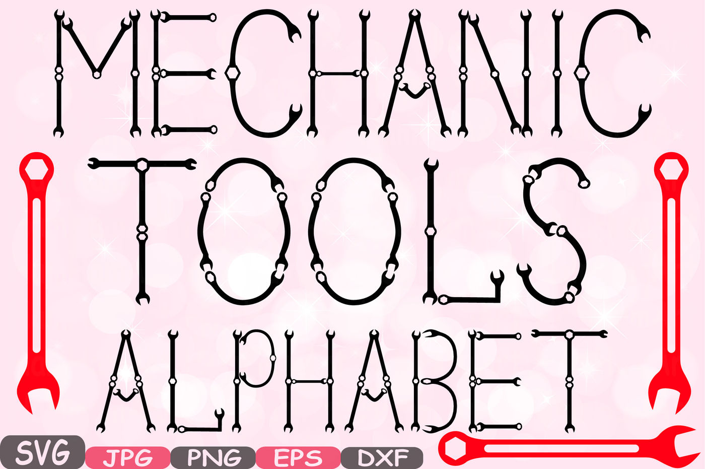 Mechanic Tools Alphabet Svg Silhouette Cutting Files Letters Abc