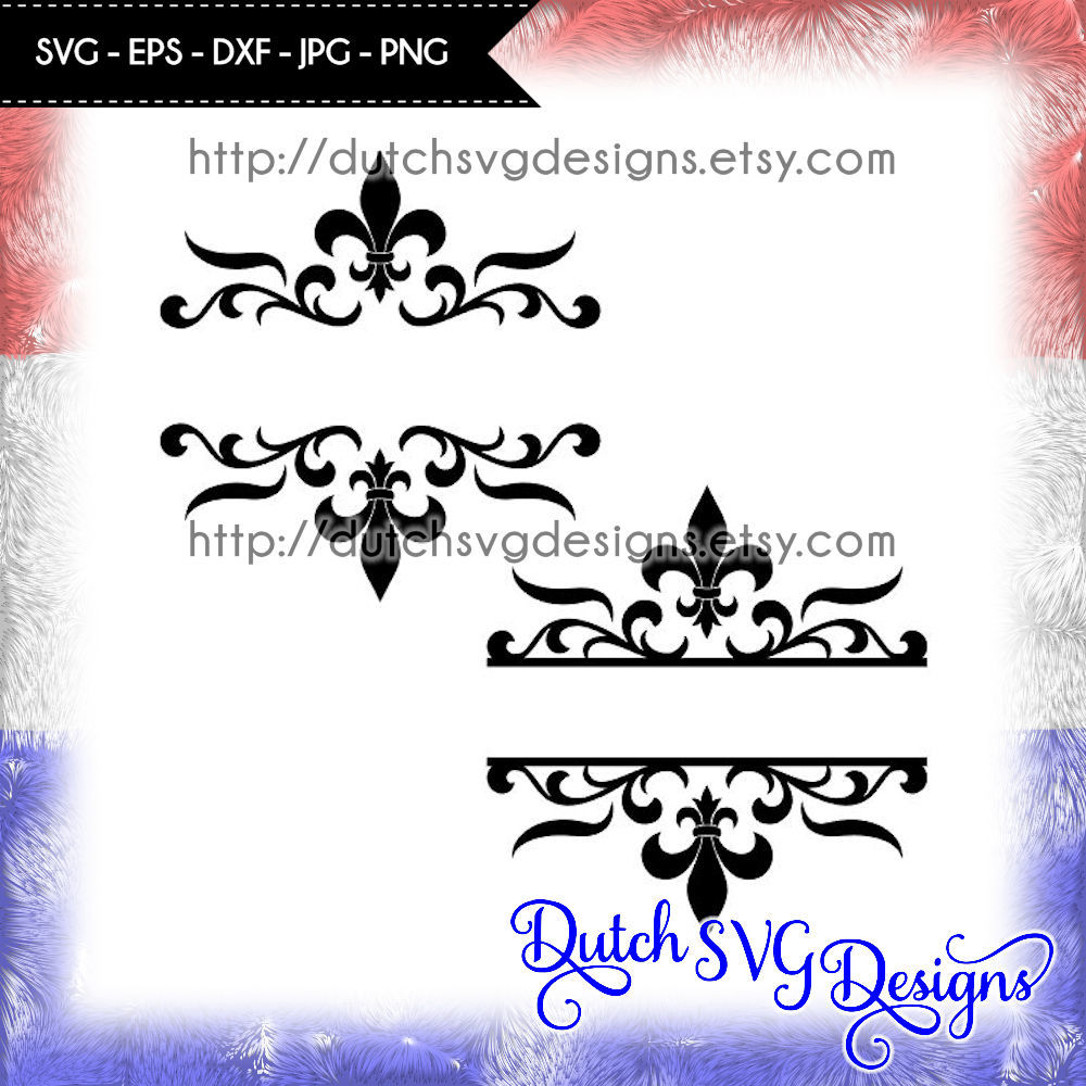 2 Split Monogram Cutting Files With French Lily In Jpg Png Svg