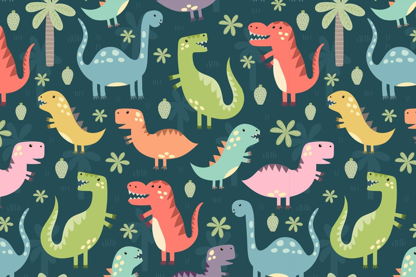 Dino Party Patterns Illustrations By Juliyas Art