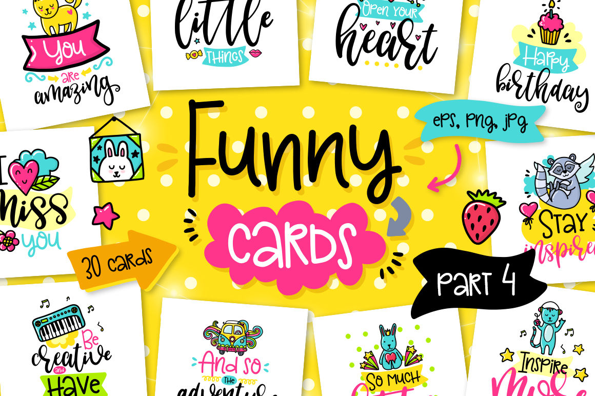 30 Funny Color Cards With Quote By Qilli Design Thehungryjpeg Com