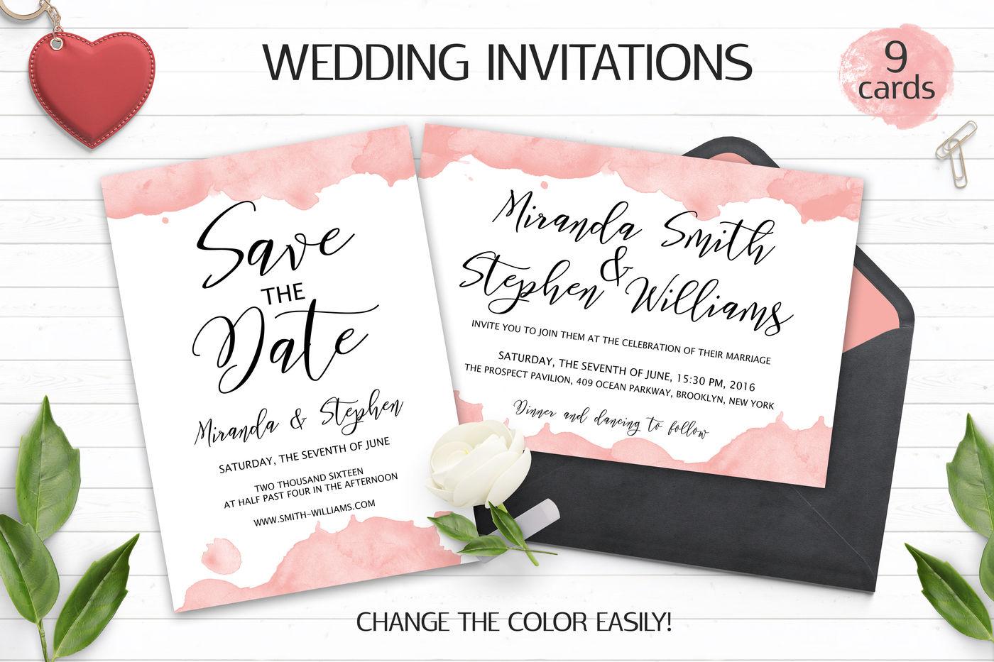Watercolor Wedding Invitation Templates PSD By Switzershop