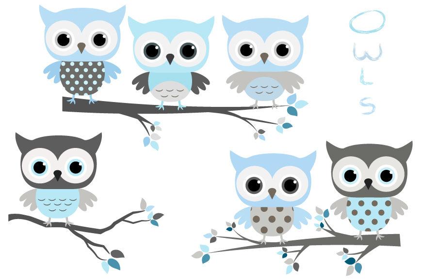 Cute Baby Boy Clip Art Blue Grey Owls Clipart Baby Shower Clipart By Pravokrugulnik Thehungryjpeg Com