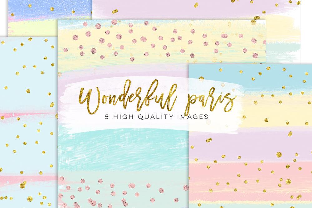 Pastel Confetti Digital Paper Pastel Gold Rose Digital Texture