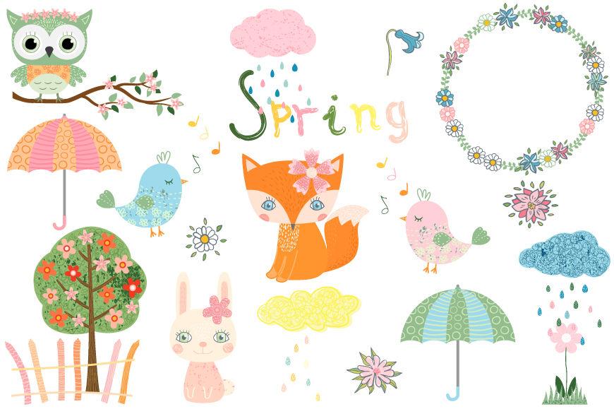 Cute spring clipart set, Animal character clip art, fox ...