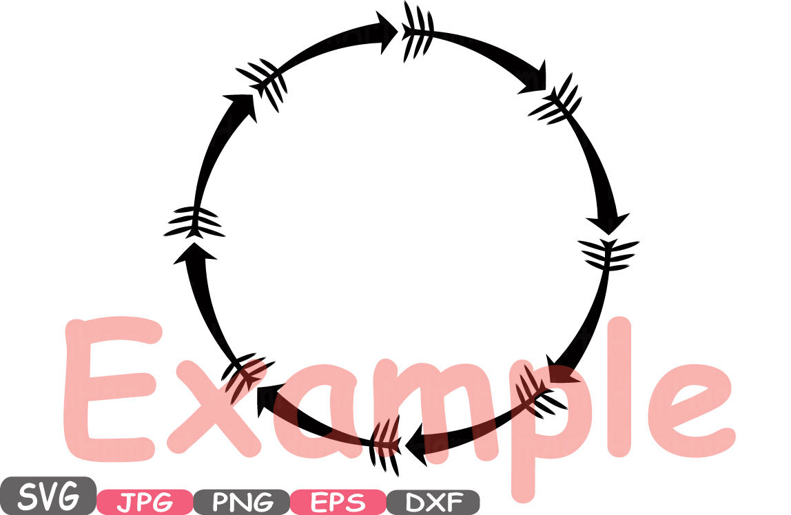 Arrow And Chain Circle Frame Svg Silhouette Cutting Files Round