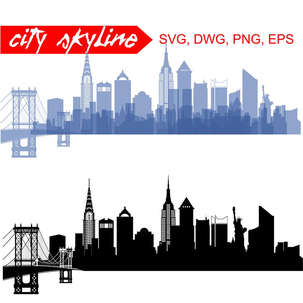 New York Vector Skyline By Dreamer S Designs Thehungryjpeg Com