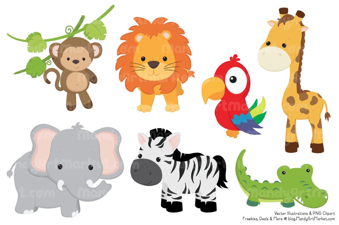 jungle animal cute clipart vectors thehungryjpeg cart