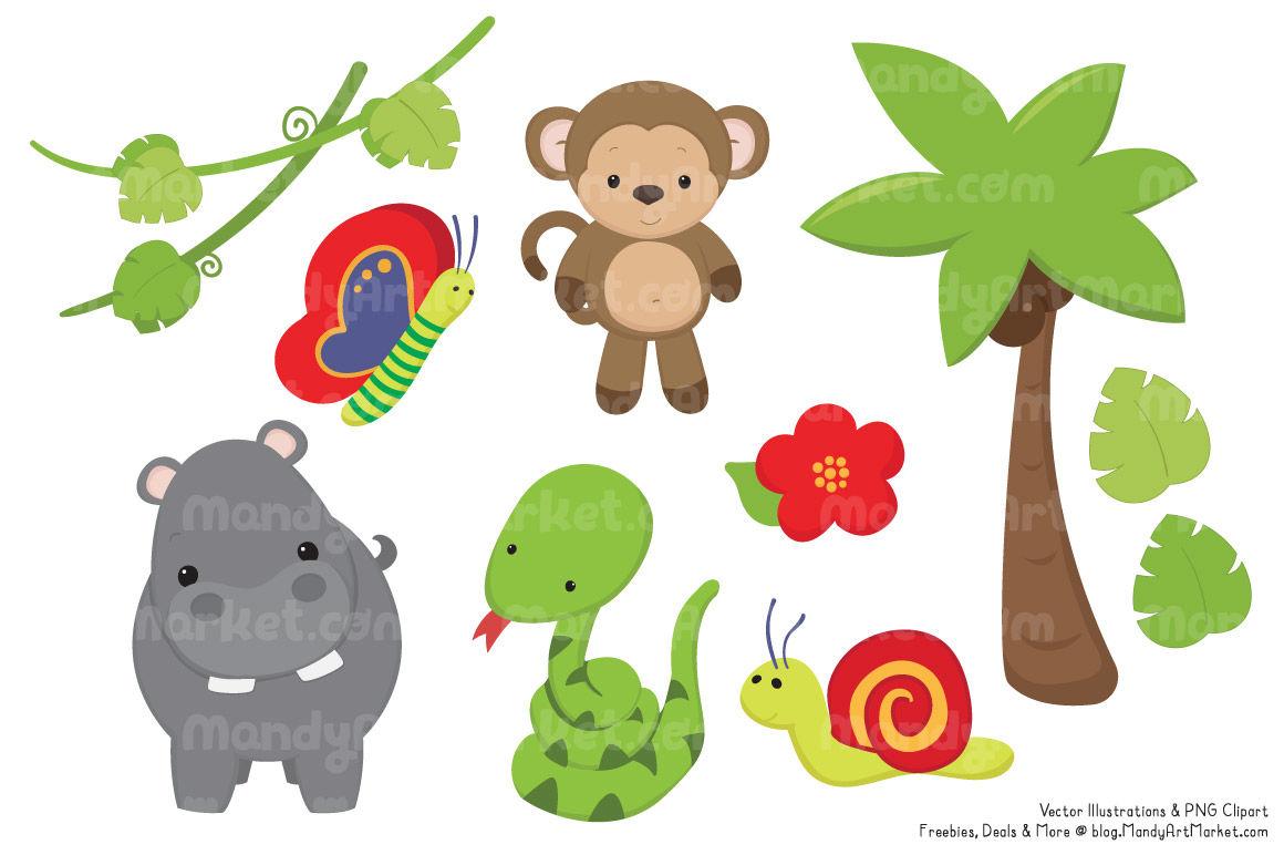 Cute animal jungle. Clipart vectors by amanda