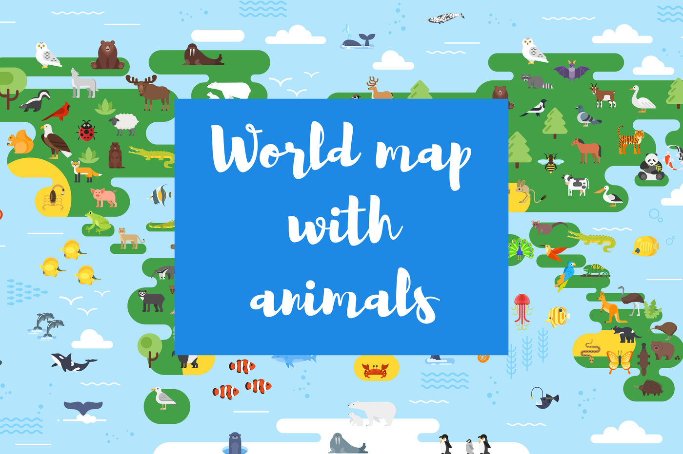 Flat World Map With Animals For Kids By Cartoon Time