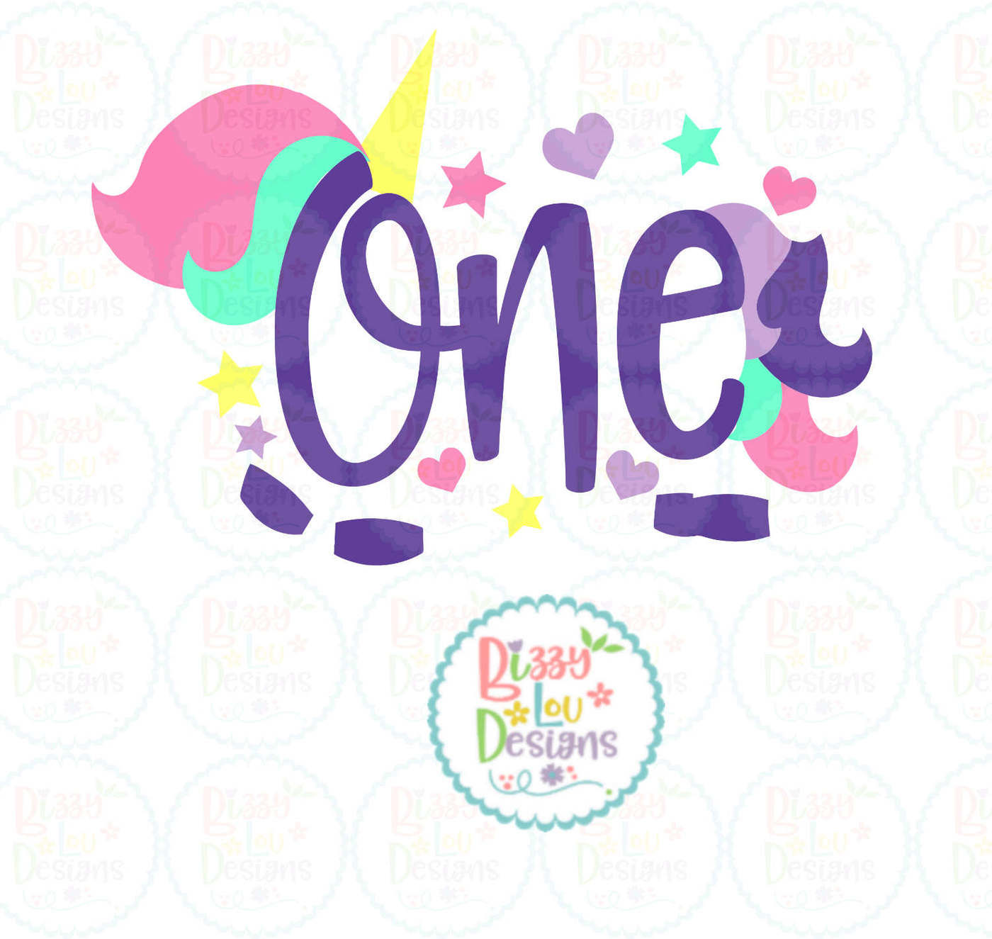 One Unicorn First Birthday Svg Dxf Eps Png By Bizzy Lou Designs