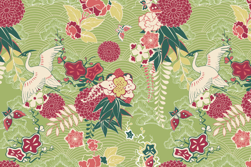 Oriental Kimono Patterns By Macrovector Thehungryjpeg Com