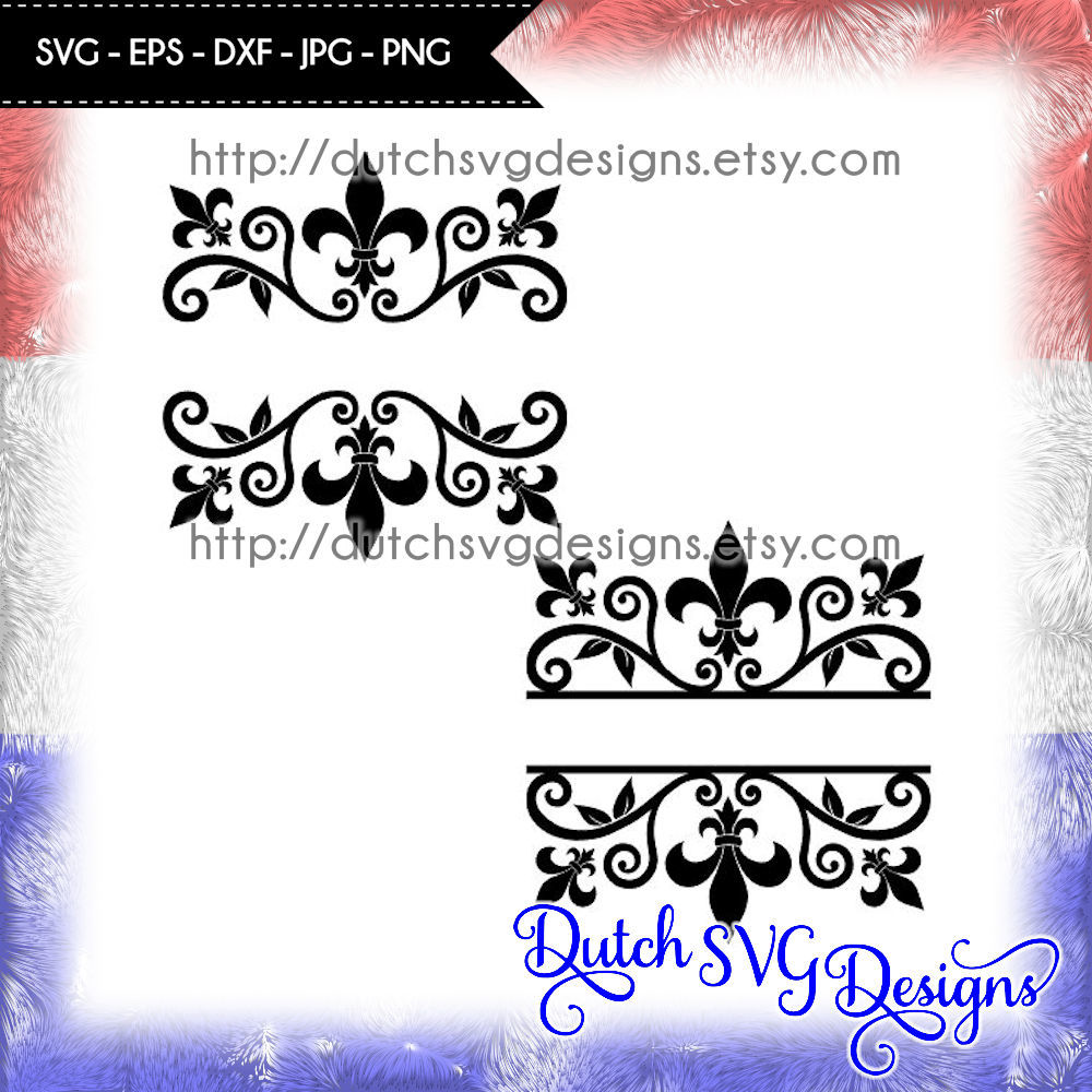 2 Split Monogram Cutting Files With French Lily In Jpg Png Svg Eps Dxf Cricut Svg Silhouette Cut File Fleur De Lis Svg Diy By Dutch Svg Designs Thehungryjpeg Com